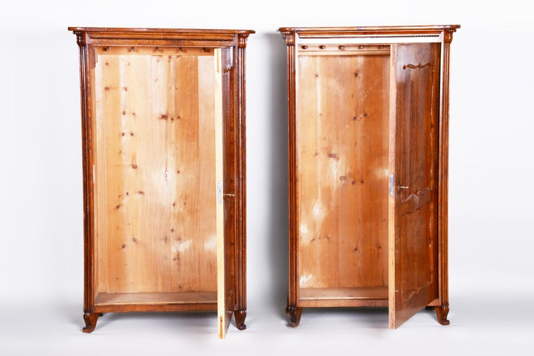 19th Century Biedermeier Ash Pair of Wardrobes, Completely Restored, 1840s For Sale 1