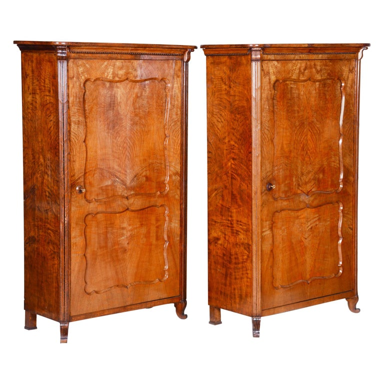19th Century Biedermeier Ash Pair of Wardrobes, Completely Restored, 1840s For Sale
