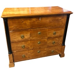 19th Century Biedermeier Birch Wood Chest of Drawers Secretaire, 1830s