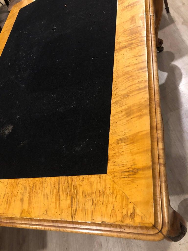 19th Century Biedermeier Birch Wood Partner Desk, 1860s For Sale 5
