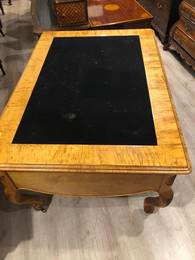 19th Century Biedermeier Birch Wood Partner Desk, 1860s For Sale 4