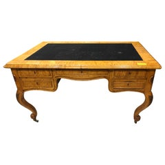 19th Century Biedermeier Birch Wood Partner Desk, 1860s