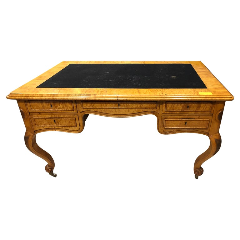19th Century Biedermeier Birch Wood Partner Desk, 1860s For Sale
