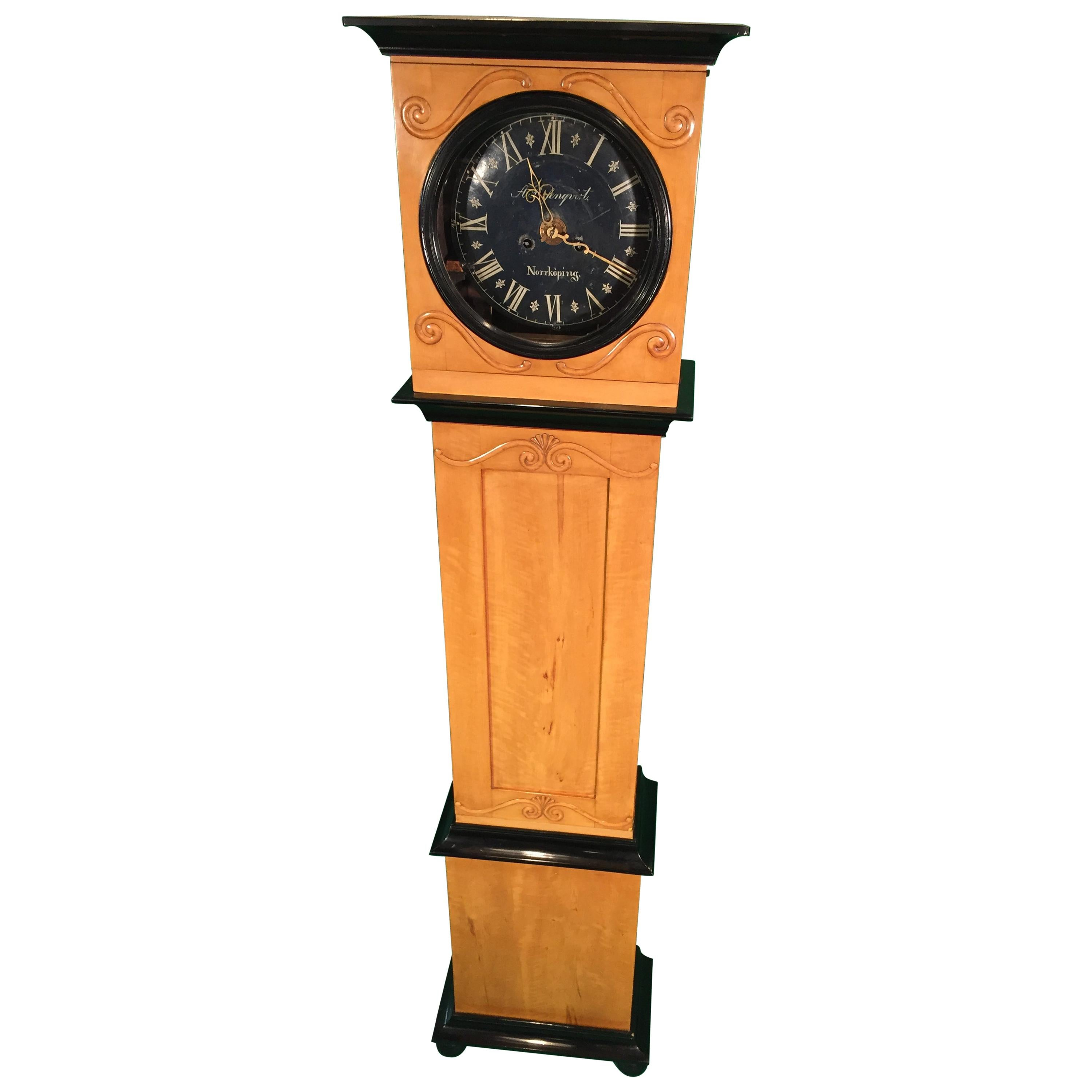 19th Century Mora Swedish  Birchwood Grandfather Clock