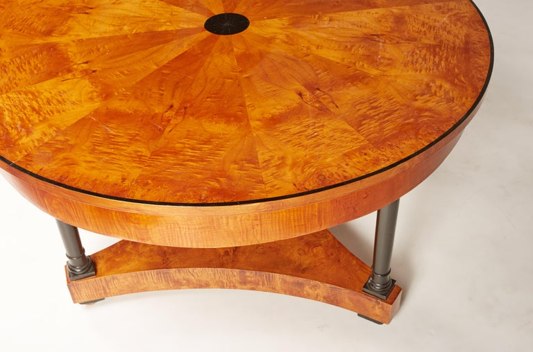 Early 19th Century 19th Century Biedermeier Center or Round Dining Table with Columns on Ball Feet For Sale