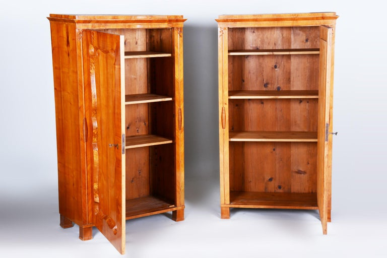 19th Century Biedermeier Cherry Pair of Wardrobes, Completely Restored, 1840s For Sale 2