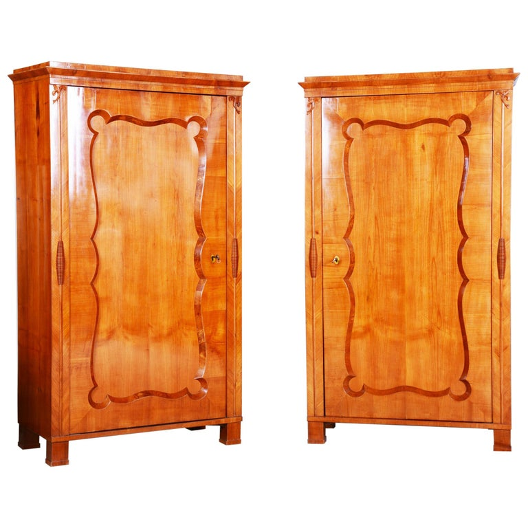 19th Century Biedermeier Cherry Pair of Wardrobes, Completely Restored, 1840s For Sale