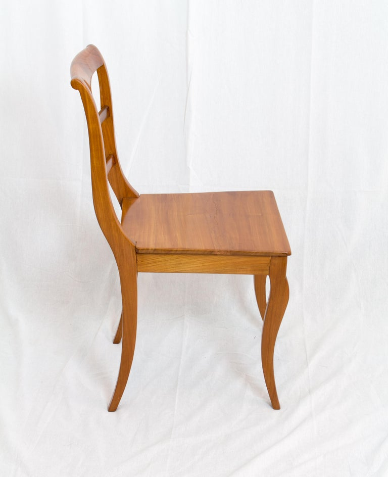 A chair from the time of the Biedermeier, circa 1830. The chair is made of solid cherrywood. In very good restored condition.