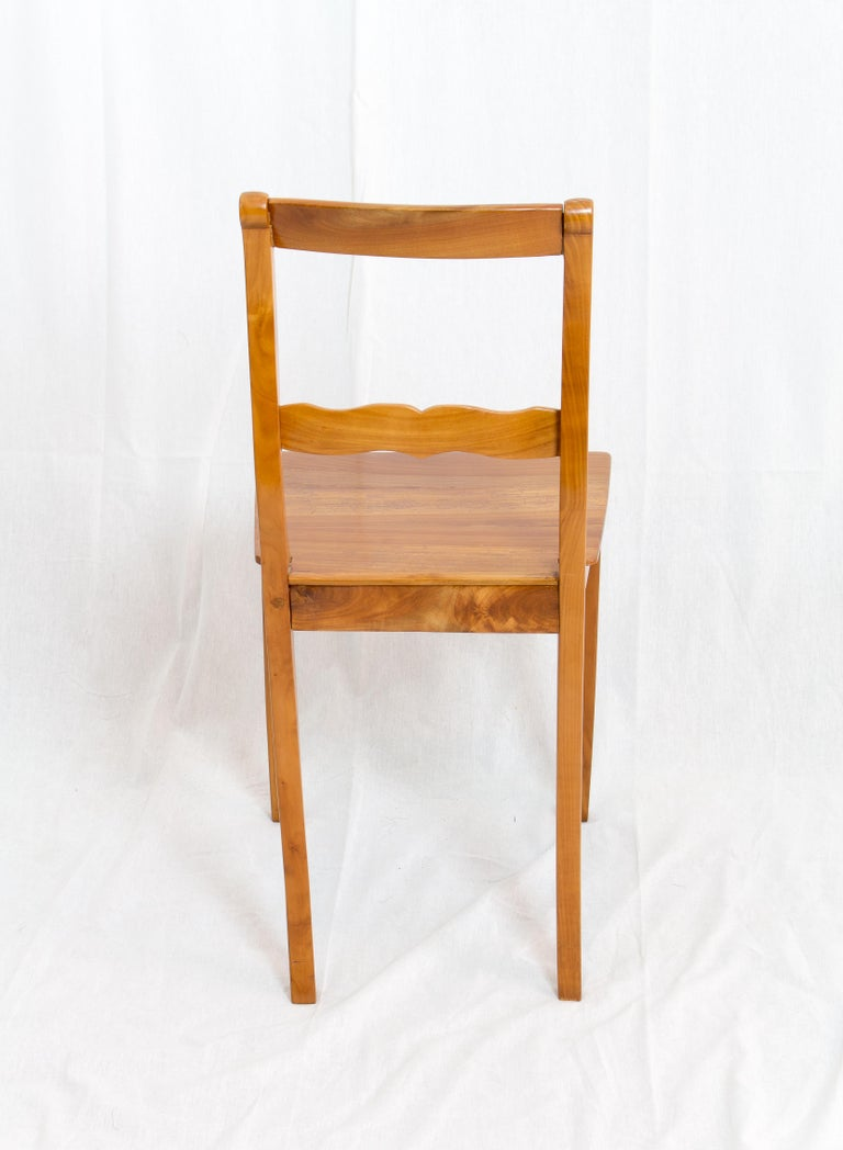 Polished 19th Century Biedermeier Cherrywood Chair For Sale
