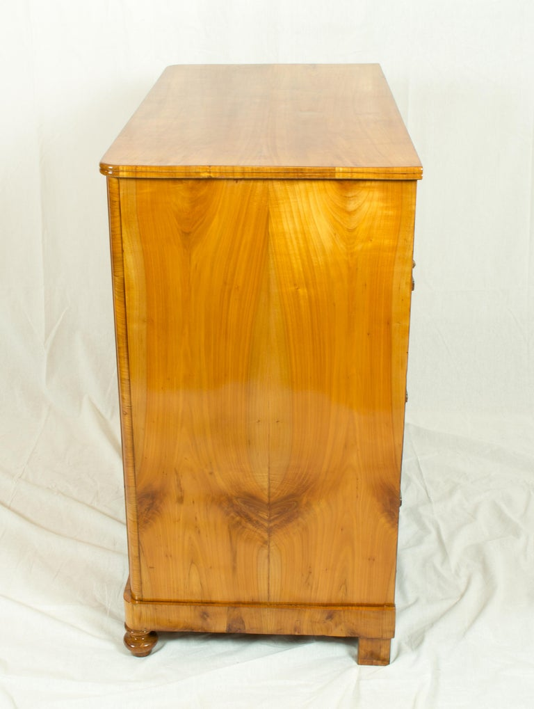 Polished 19th Century Biedermeier Cherrywood Chest of Drawer For Sale