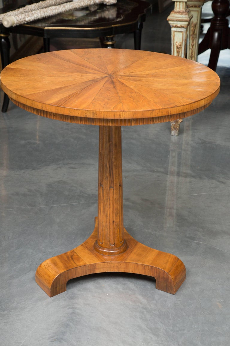 19th Century Biedermeier Cherrywood Circular Side Table In Good Condition For Sale In WEST PALM BEACH, FL