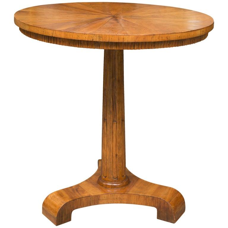 19th Century Biedermeier Cherrywood Circular Side Table For Sale
