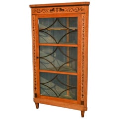 19th Century Biedermeier Corner Cabinet with Inlay