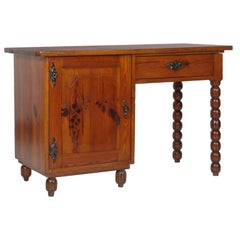 19th Century Country Tirolean Desk, Solid & Turned Larch, Restored wax-polished