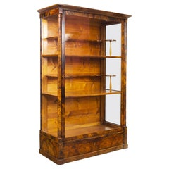 19th Century Biedermeier Czech Display Cabinet, Shellac Polish, Walnut