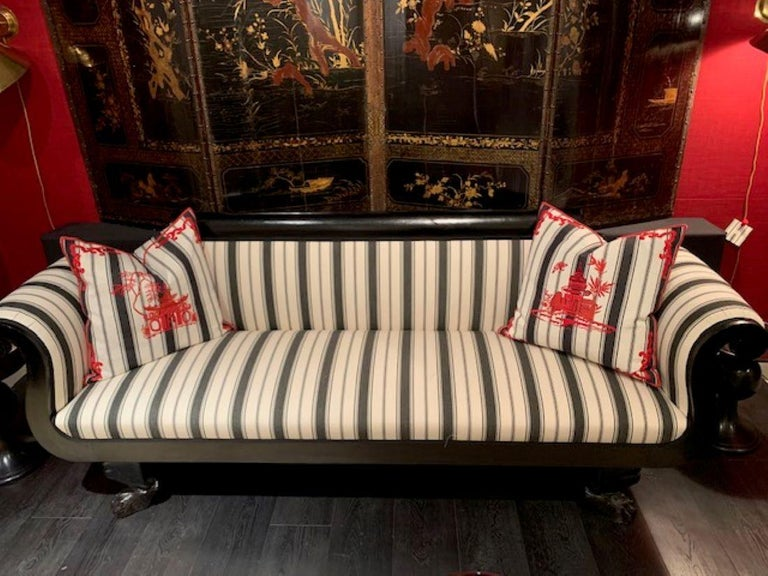 Upholstery 19th Century Biedermeier Ebonized Bench with Scroll Arms on Claw Feet For Sale