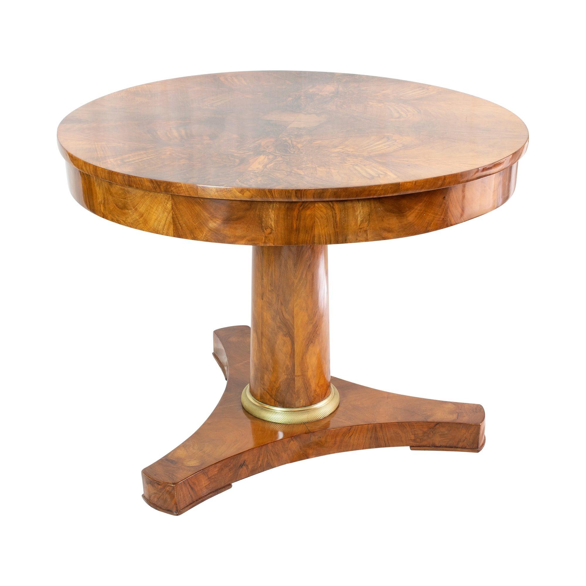 19th Century Biedermeier / Empire Round Salon Walnut Table