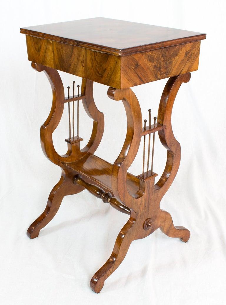 German 19th Century Biedermeier Lyra Walnut Sewing or Side Table For Sale