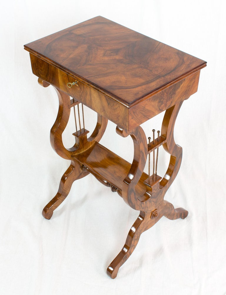 19th Century Biedermeier Lyra Walnut Sewing or Side Table For Sale 1