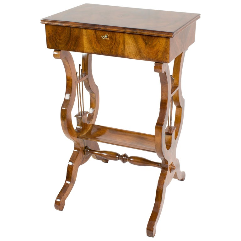 19th Century Biedermeier Lyra Walnut Sewing or Side Table For Sale