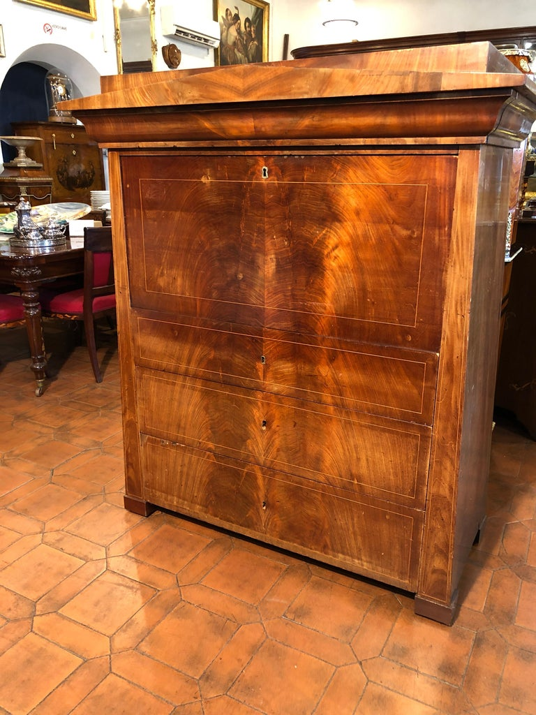 19th Century Biedermeier Mahogany Danish Conical Secretaire in Temple Shape In Fair Condition For Sale In Roma, IT