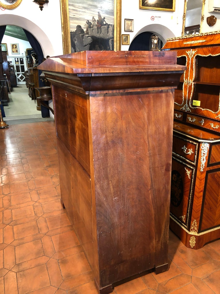 Mid-19th Century 19th Century Biedermeier Mahogany Danish Conical Secretaire in Temple Shape For Sale