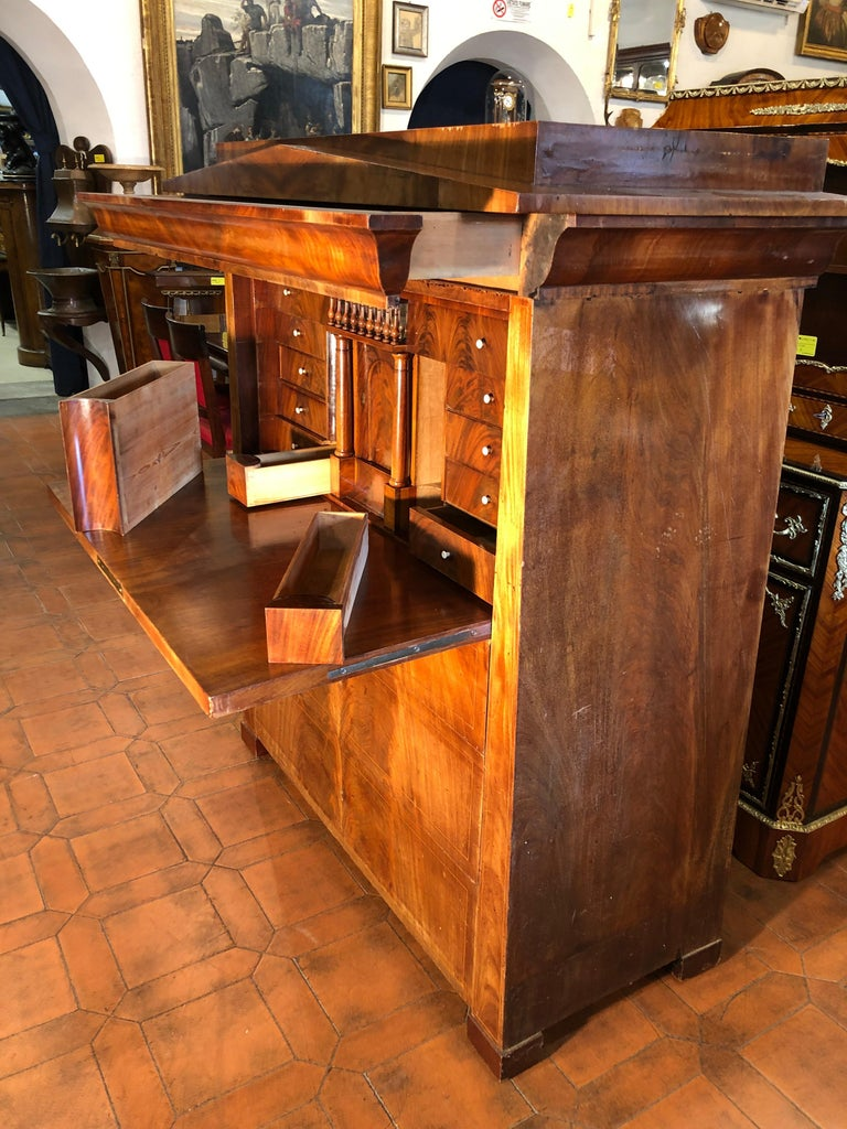 19th Century Biedermeier Mahogany Danish Conical Secretaire in Temple Shape For Sale 4