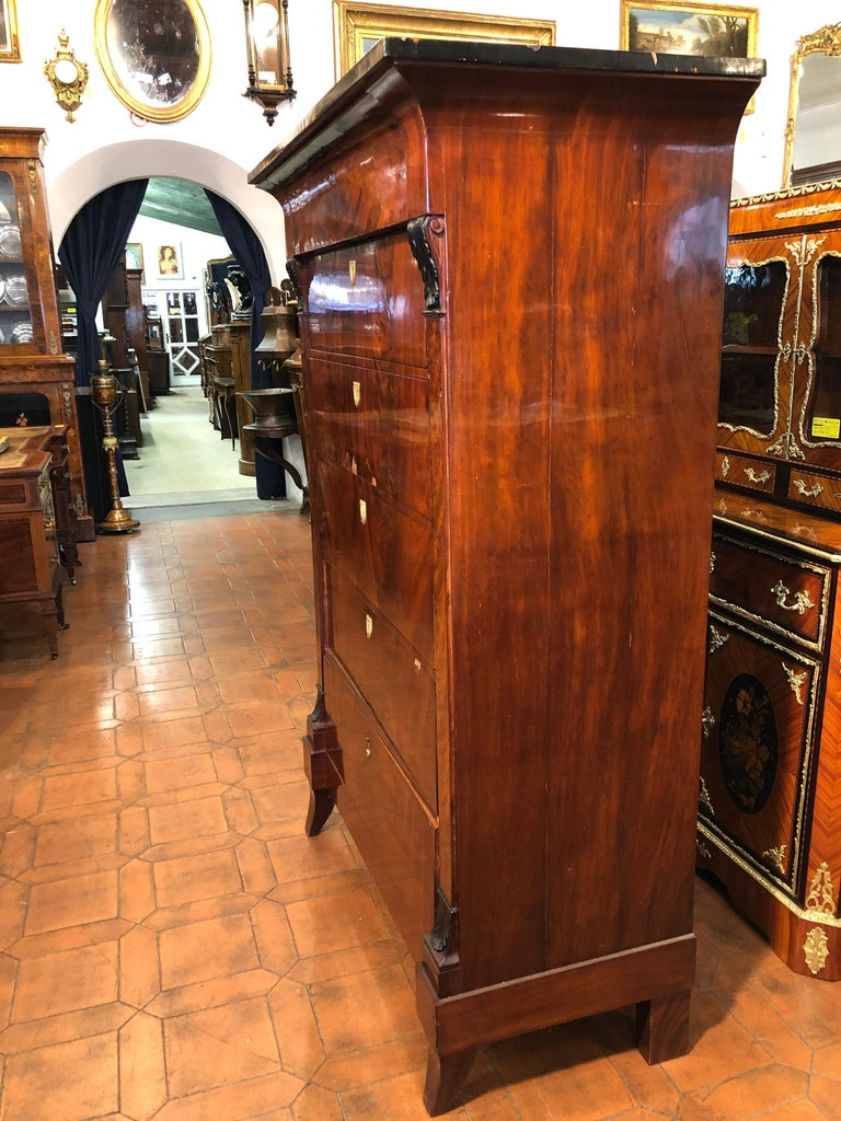 19th Century Biedermeier Mahogany German Tallboy Six Drawers, 1830s In Good Condition For Sale In Roma, IT