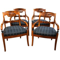 19th Century Biedermeier Mahogany Set of Four Armachairs, 1860s