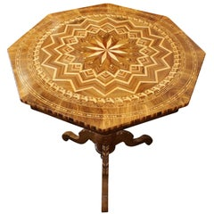 19th Century Biedermeier Marquetry Side Table, Germany