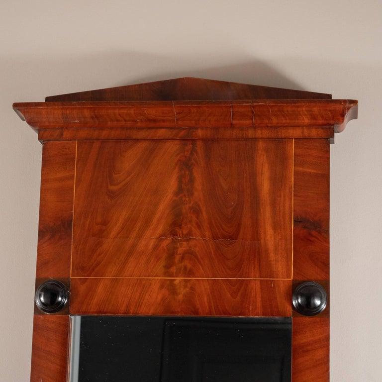19th Century Biedermeier Mirror with Cherry Veneer and Ebony Detail For Sale 1