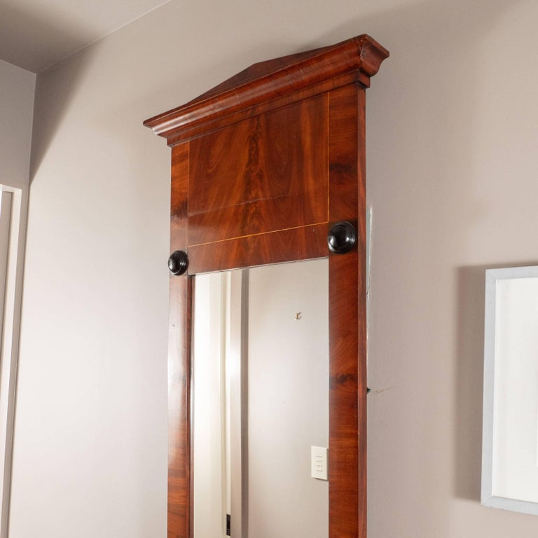 19th Century Biedermeier Mirror with Cherry Veneer and Ebony Detail For Sale 3