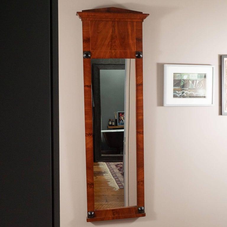 19th Century Biedermeier Mirror with Cherry Veneer and Ebony Detail For Sale 4