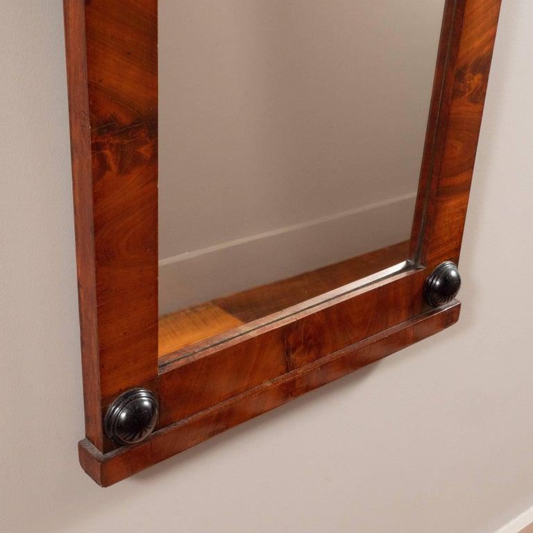 19th Century Biedermeier Mirror with Cherry Veneer and Ebony Detail For Sale 5