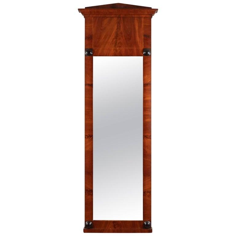 19th Century Biedermeier Mirror with Cherry Veneer and Ebony Detail For Sale