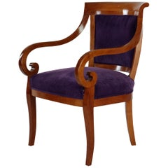 19th Century Biedermeier Period Armchair with Curved Armrests, Cherrywood, Brown