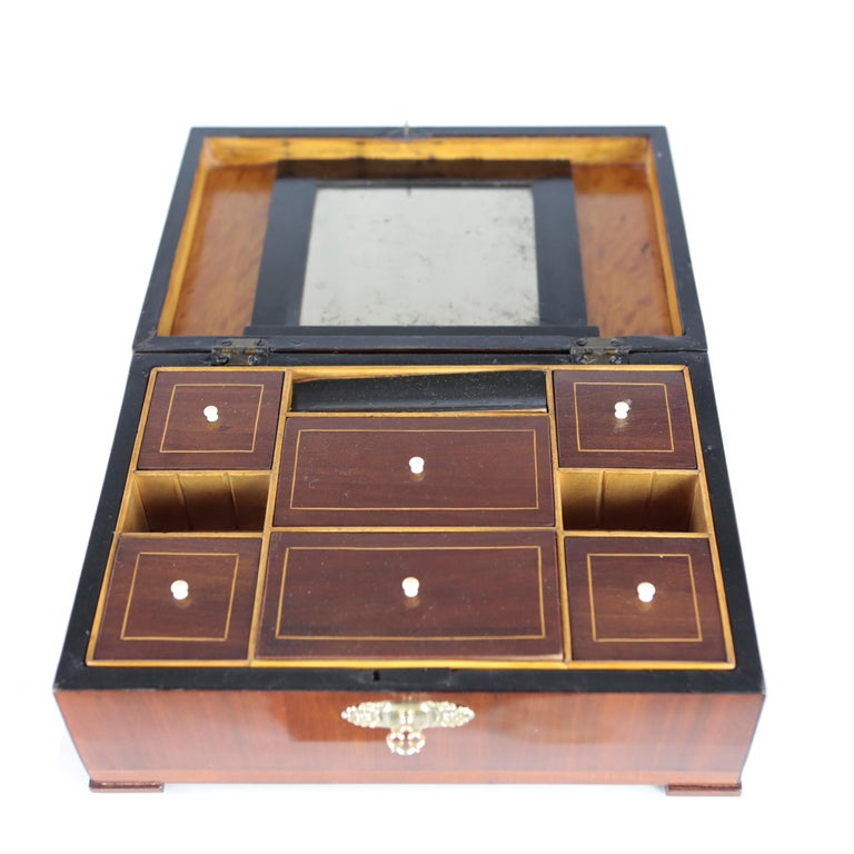 Early 19th Century 19th Century Biedermeier Period Casket Case Mahogany Veneer with Mirror Redbrown For Sale