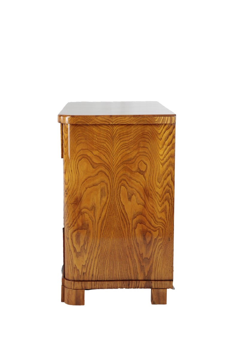Polished 19th Century Biedermeier Period Chest of Drawers, Ashwood, 1830-1840, Brown For Sale