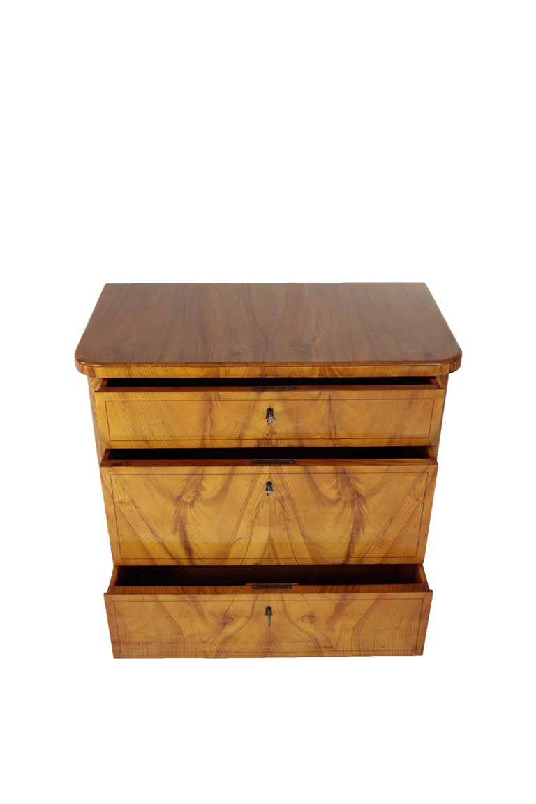 Mid-19th Century 19th Century Biedermeier Period Chest of Drawers, Ashwood, 1830-1840, Brown For Sale