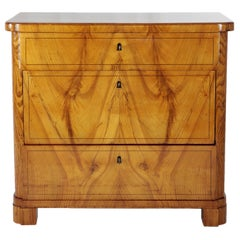 19th Century Biedermeier Period Chest of Drawers, Ashwood, 1830-1840, Brown