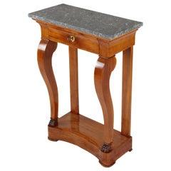 19th Century Biedermeier Period Console Table with Marble Top, Cherrywood Veneer