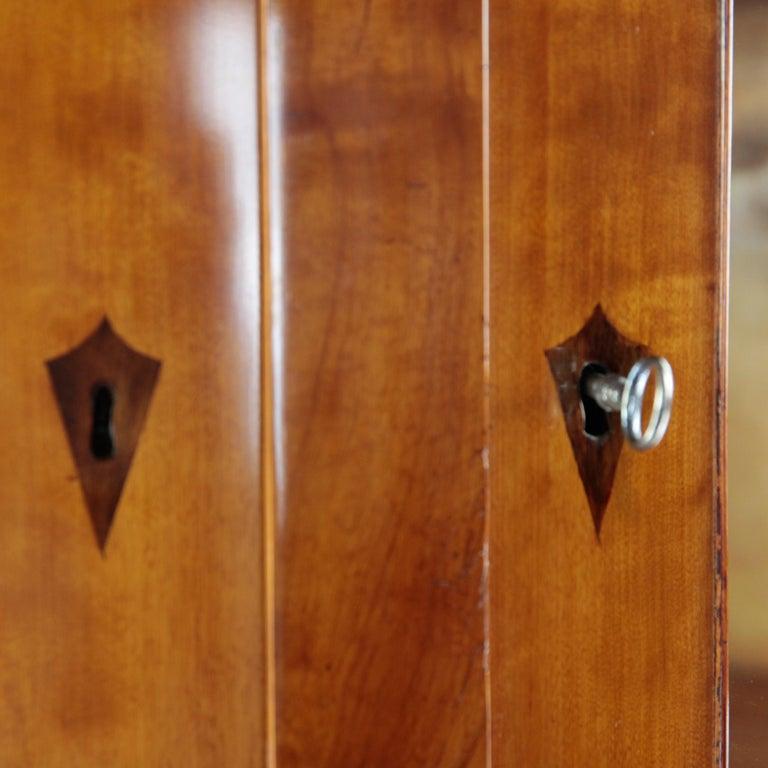 19th Century Biedermeier Period Corner Cupboard, circa 1820-1830, Birchwood In Good Condition For Sale In Muenster, NRW