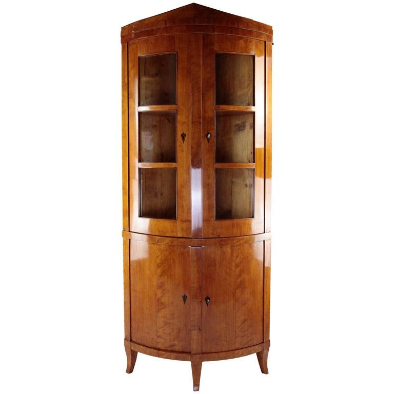 19th Century Biedermeier Period Corner Cupboard, circa 1820-1830, Birchwood For Sale