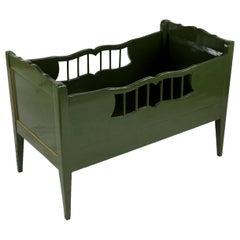 19th Century Biedermeier Period Crib, South German, 1830, Softwood, Green
