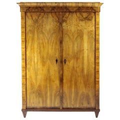 19th Century Biedermeier Period Cupboard Cabinet, Nutwood Veneered, Brown