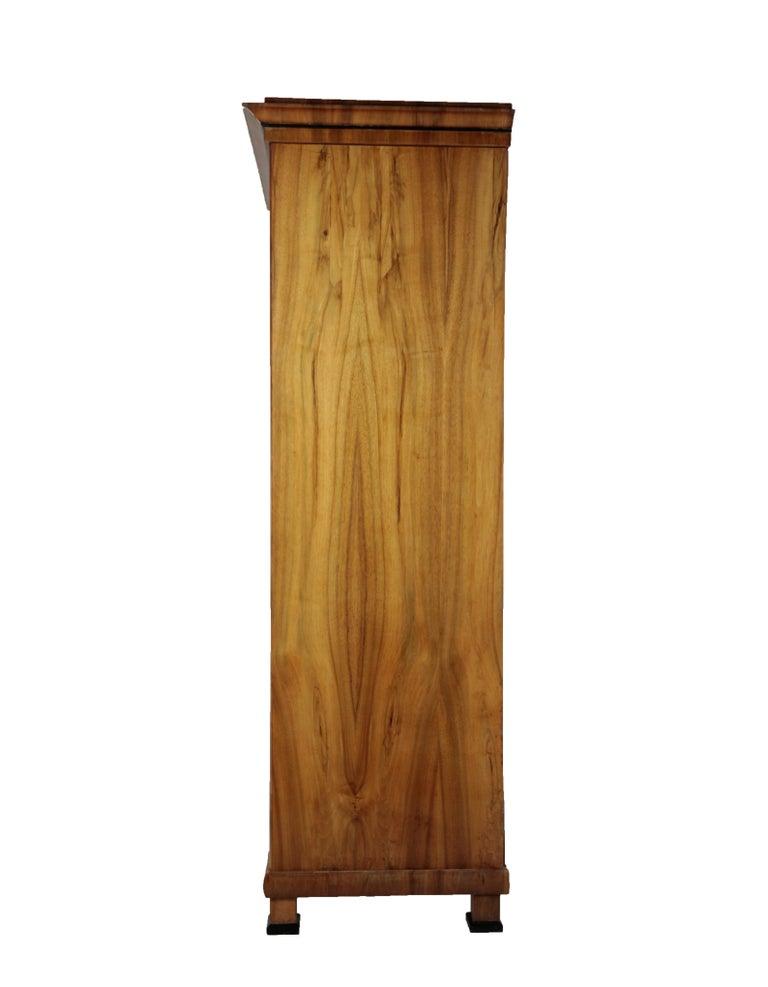 Veneer 19th Century Biedermeier Period Glass Cabinet, circa 1830-1840, Walnut For Sale