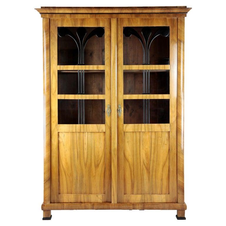 19th Century Biedermeier Period Glass Cabinet, circa 1830-1840, Walnut For Sale