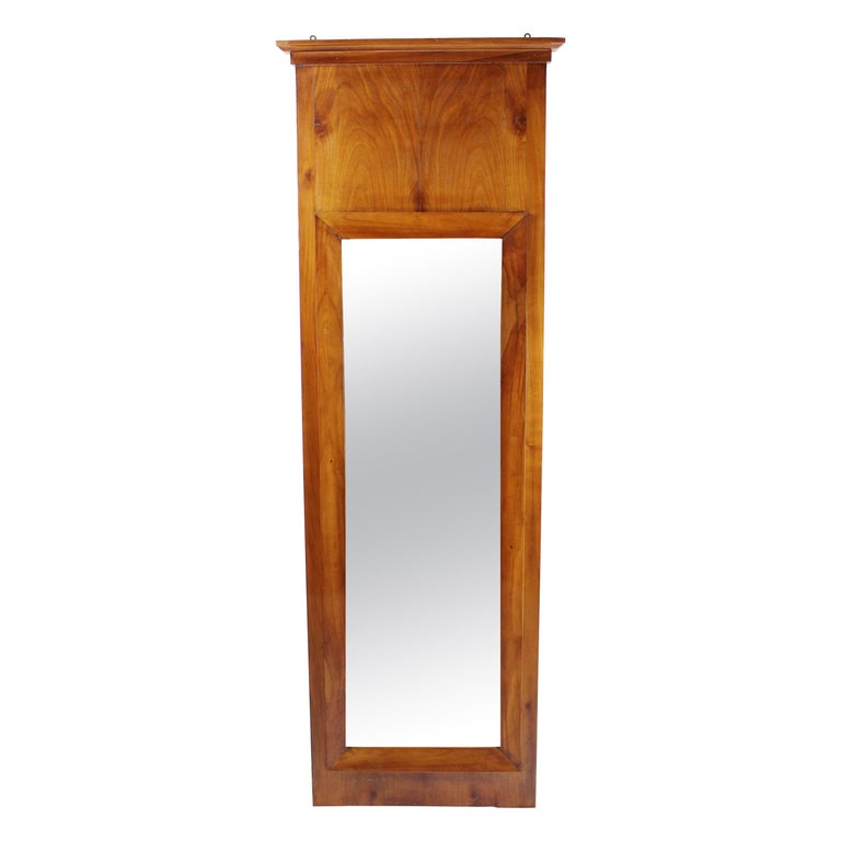 19th Century Biedermeier Period Pillar Mirror, Cherry Tree, Lightbrown For Sale