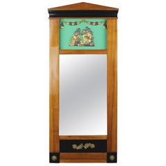 19th Century Biedermeier Period Pillar Mirror, Cherrywood, Light Brown