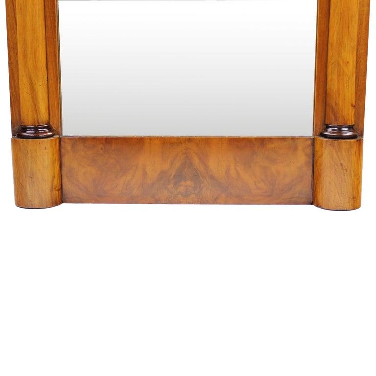 European 19th Century Biedermeier Period Pillar Mirror, Germany, circa 1820 Nutwood Brown For Sale